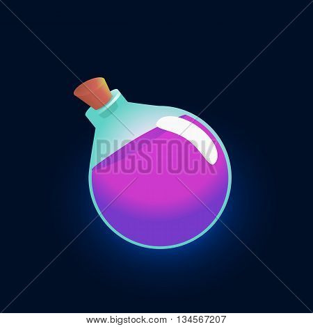Bottle violet shine. Vector glass flask with purple liquid and label isolated on a dark background. Game icon of magic elixir. design for app user interface. Potion for luck, fortitude, magic