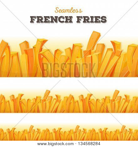Illustration of a seamless cartoon appetizing set of french fried potatoes background for snack restaurant menu and takeaway food