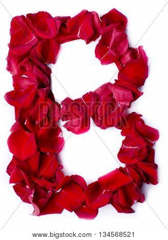 Alphabet B Made From Red Rose
