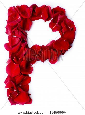 Alphabet P Made From Red Rose