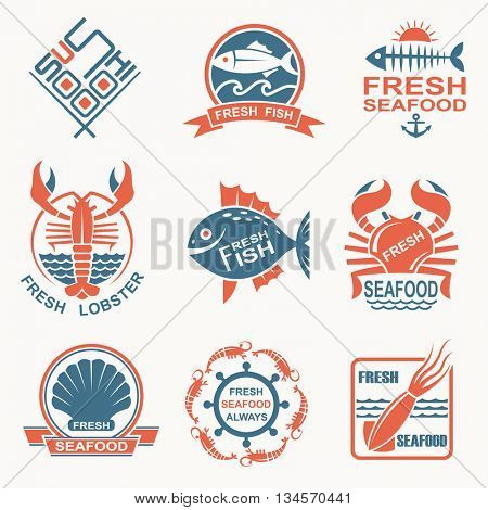 collection of nine seafood icons