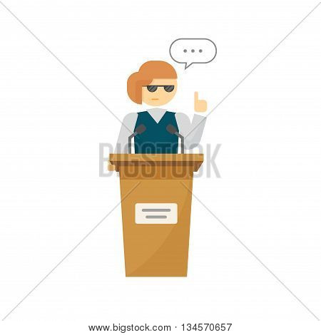 Spokeswoman on podium vector isolated on white background, flat cartoon woman speaker person on tribune, business orator speaking, talking, concept of conference, lecturer, leader, politician debate poster