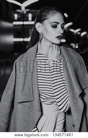 Fashion, streetstyle, editorial, model, night, street posing clothes city female beautiful lights hairstyle make up