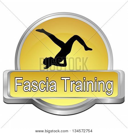 decorative golden Fascia Training button - 3D illustration