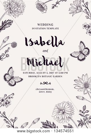 Wedding invitation with two butterflies and flowers. Romantic summer background. Aster chrysanthemum daisy. Vector design elements. Black and white.