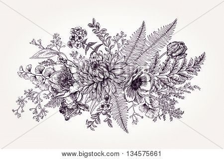 Bouquet with a vintage garden with flowers and leaves. Vector botanical illustration. Chrysanthemum tulip peony anemone ferns boxwood. Design elements. Black and white.