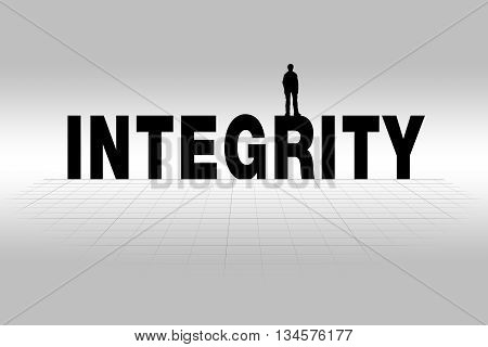 Integrity word communicating business concept of integrity in silhouette.