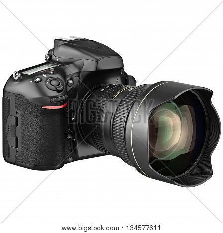 Digital black DSLR photo camera with zoom lens. 3D graphic