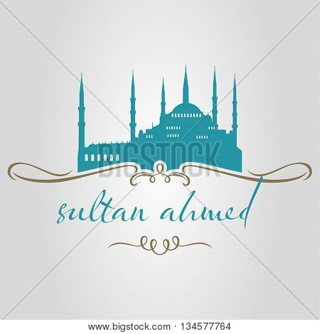istanbul sultan ahmed mosque logo, icon and symbol vector illustration poster