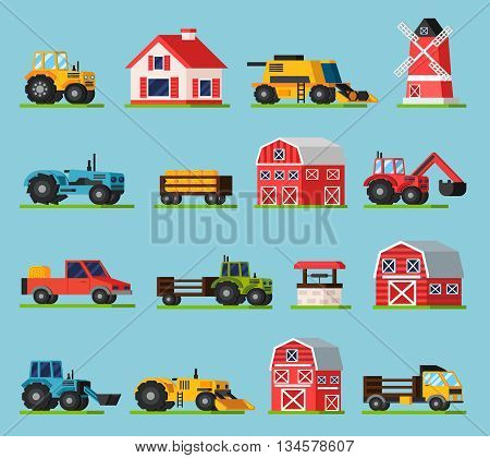 Farm orthogonal flat icons set with various kinds of transport mill house barns of different sizes and well on green grass isolated vector illustration