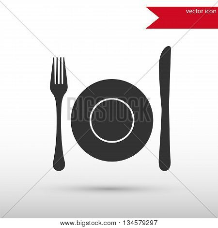Dish, fork and knife. Black icon vector and jpg. Flat style object. Art picture drawing. Eps 10. Elements for your design. Web icons.