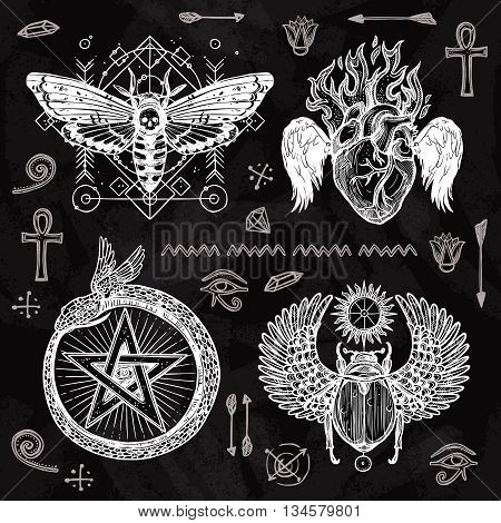 Chalkboard tattoo set butterfly burning heart snake circled with star and scarab with wings isolated vector illustration