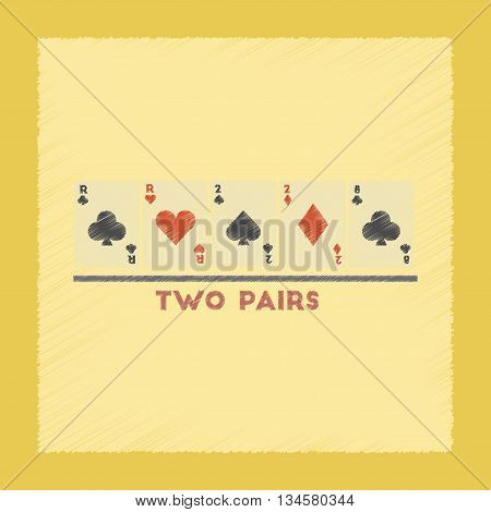 flat shading style icon poker two pairs