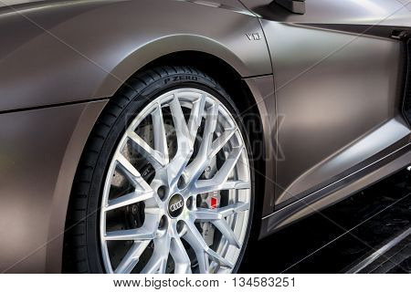 TURIN, ITALY - JUNE 12, 2016: the front wheel of a Audi R8 Spyder V10. Torino, Italy, Europe.