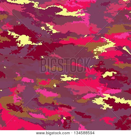 Camouflage background- vector illustration. Abstract pattern color eye gouge. Pink ladies print texture.