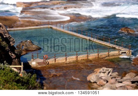 Outdoor rock swimming pool at Curl Curl beach (Sydney, NSW, Australia)