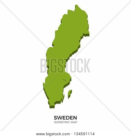 Isometric map of Sweden detailed vector illustration. Isolated 3D isometric country concept for infographic