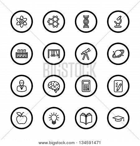 black line education and science icon set with circle frame for web design user interface (UI) infographic and mobile application (apps)