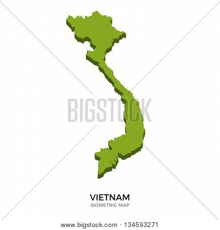 Isometric map of Vietnam detailed vector illustration. Isolated 3D isometric country concept for infographic