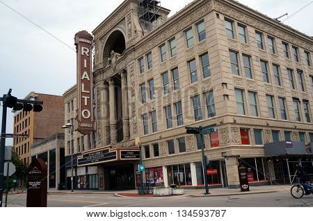 JOLIET, ILLINOIS / UNITED STATES - MAY 24, 2015: The historic Ruben's Rialto Square Theater offers performances in downtown Joliet.