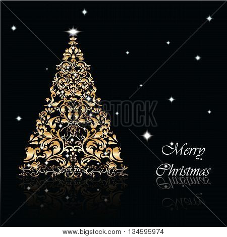 Christmas Tree set in goldon black background with snowflakes. Vector