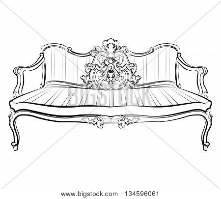 Imperial Royal Sofa with classic damask ornaments. Vector
