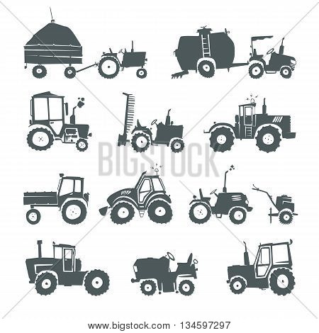 Tractors. Set of vector funny tractors and specialized equipment isolated on white background. Simple silhouettes icons farm machinery.