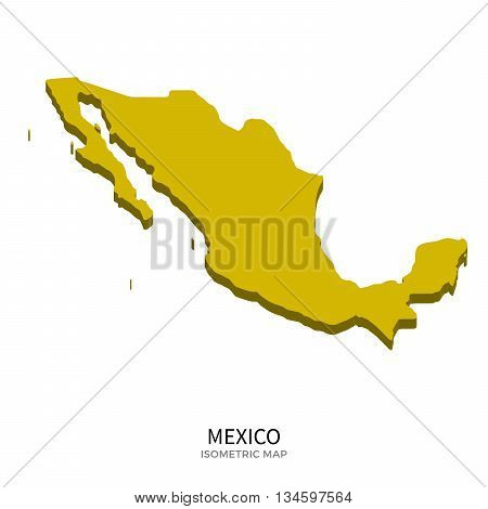 Isometric map of Mexico detailed vector illustration. Isolated 3D isometric country concept for infographic