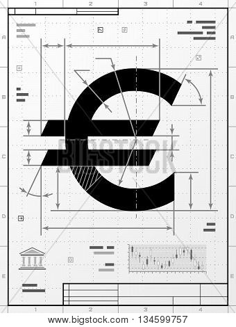 Euro symbol as technical drawing. Stylized drafting of money sign with title block. Qualitative vector illustration about banking, financial industry, economy, business, accounting, etc