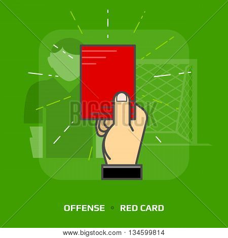 Flat illustration of penalty card against green background. Flat design of red card for dismissal of player, front view. Vector image about soccer, sport game, football, championship, gameplay, etc
