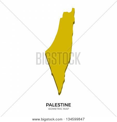 Isometric map of Palestine detailed vector illustration. Isolated 3D isometric country concept for infographic