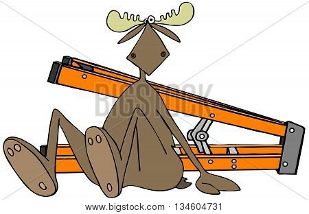 Illustration of a bull moose the floor with a stepladder on its side behind him.