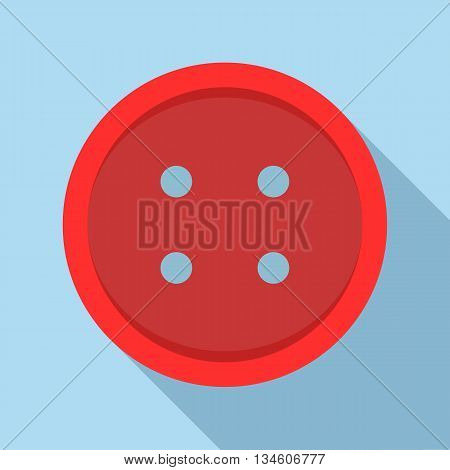 Red sewn button icon in flat style on a light blue background