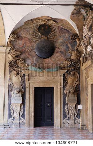 BOLOGNA, ITALY - JUNE 04: External atrium of Archiginnasio, on June 04, 2015