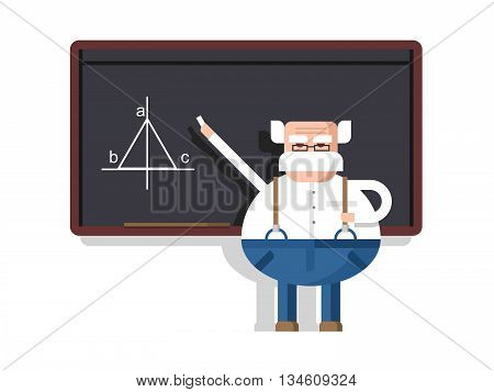 Lecture by professor. Scientist intelligent, educator and pedagogue, flat vector illustration