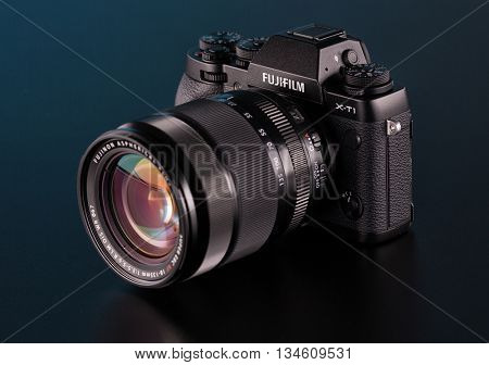 BERLIN, GERMANY - June 06, 2016: Fujifilm X-T1 Mirrorless  Digital Camera with 18 - 13m mm Lens