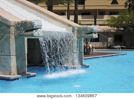 LAS VEGAS, NEVADA, MAY 23. The Cancun Resort on May 23, 2016, in Las Vegas, Nevada. The Mayan waterscape at the Cancun Resort in Las Vegas Nevada.