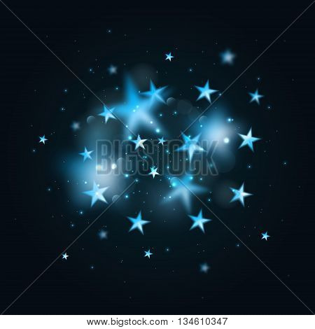 Magic background with blurred stars. Vector blue defocused stars on black background.