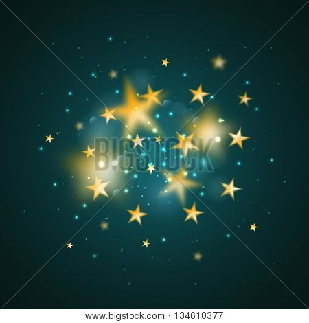 Magic background with gold blurred stars. Vecot golden defocused stars on dark cyan background.