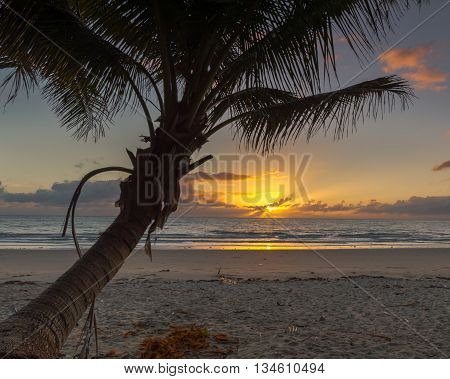 Sunrise view at Four Mile Beach out to the Coral Sea, in Port Douglas, Queensland, Australia.