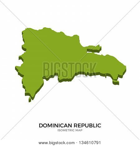 Isometric map of Dominican Republic detailed vector illustration. Isolated 3D isometric country concept for infographic