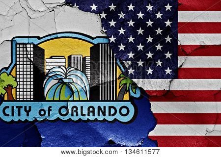 Flags Of Orlando And Usa Painted On Cracked Wall
