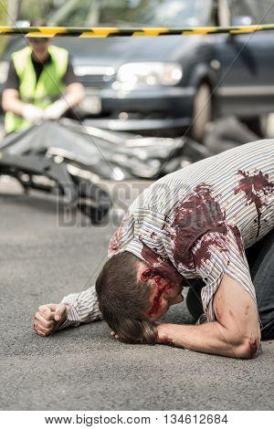 Injured Man After Vehicle Collision