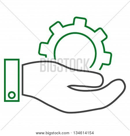 Service vector icon. Style is linear bicolor flat icon symbol, green and gray colors, white background.