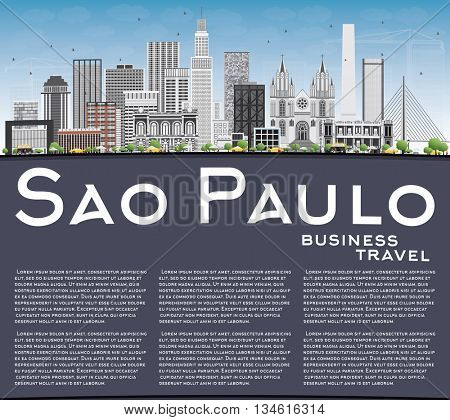 Sao Paulo Skyline with Gray Buildings, Blue Sky and Copy Space. Vector Illustration. Business Travel and Tourism Concept with Modern Buildings. Image for Presentation Banner Placard and Web Site.