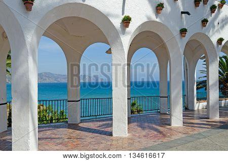 Balcon de Europa in the touristic city of Nerja. Costa del Sol. Malaga Andalusia Spain