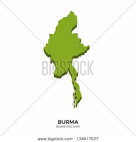 Isometric map of Burma detailed vector illustration. Isolated 3D isometric country concept for infographic