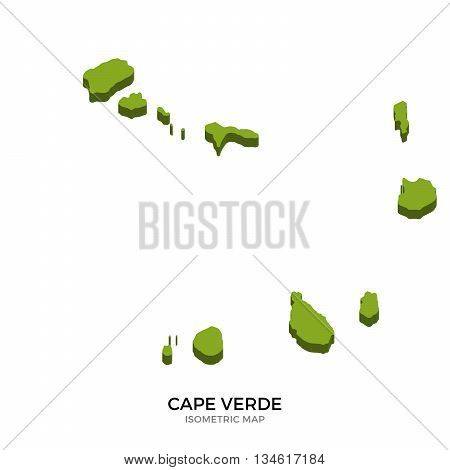 Isometric map of Cape Verde detailed vector illustration. Isolated 3D isometric country concept for infographic