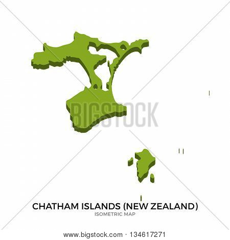 Isometric map of Chatham Islands detailed vector illustration. Isolated 3D isometric country concept for infographic