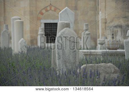 Stone tombs near the Mevlana Museum at the Konya city center